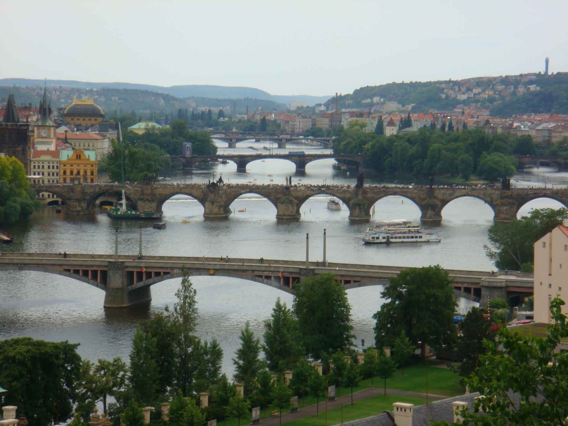 The famous Charles Bridge is in the middle - dating from 1400
