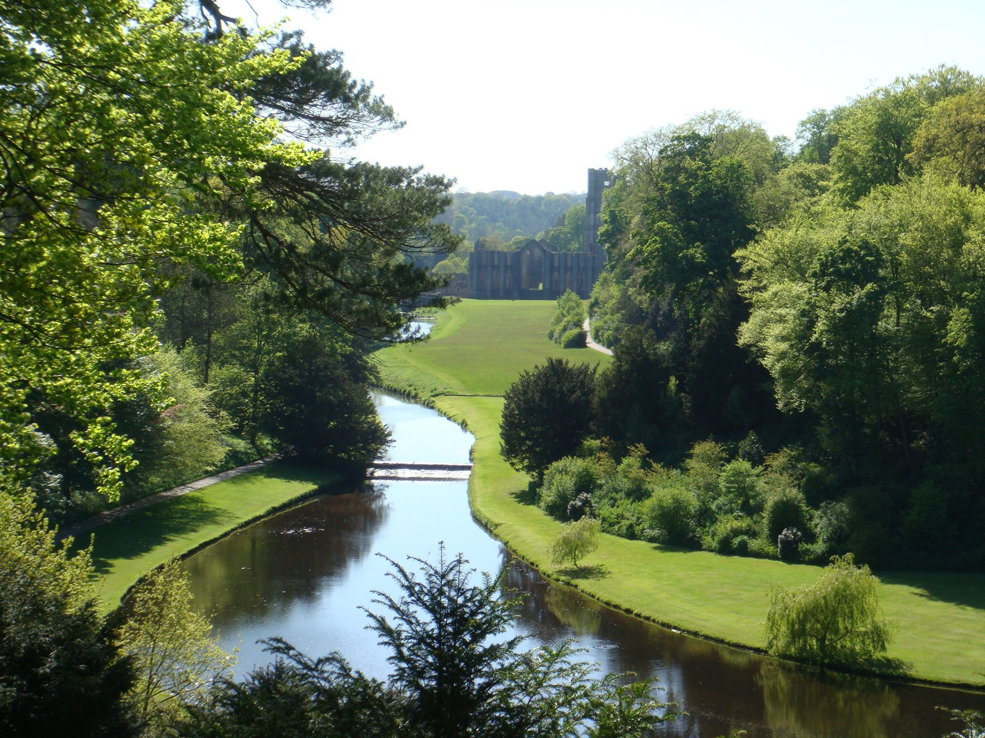 The water gardens at Fountains Abbey