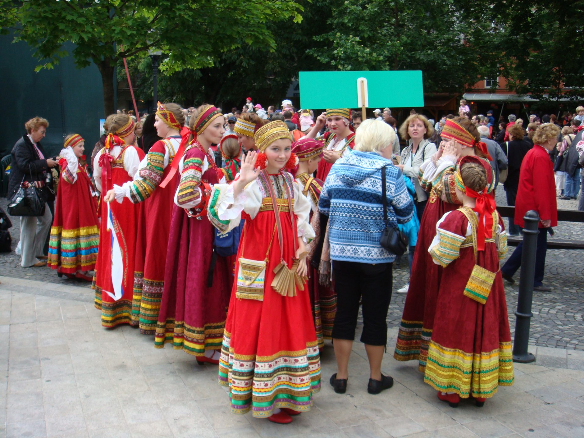 The dance troupe from Moscow pauses before their performance