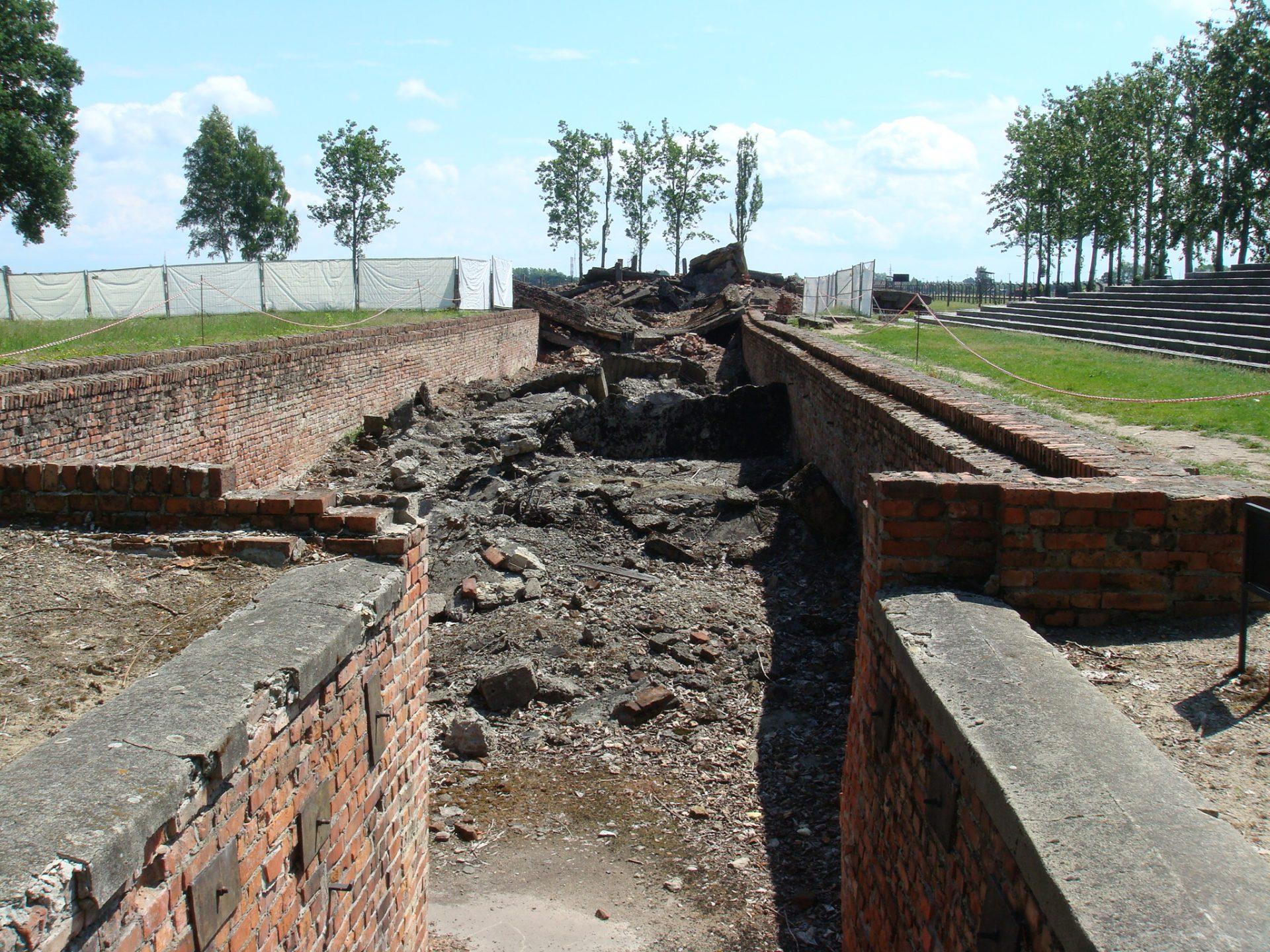 The hastily destroyed Birkenau Crematorium II