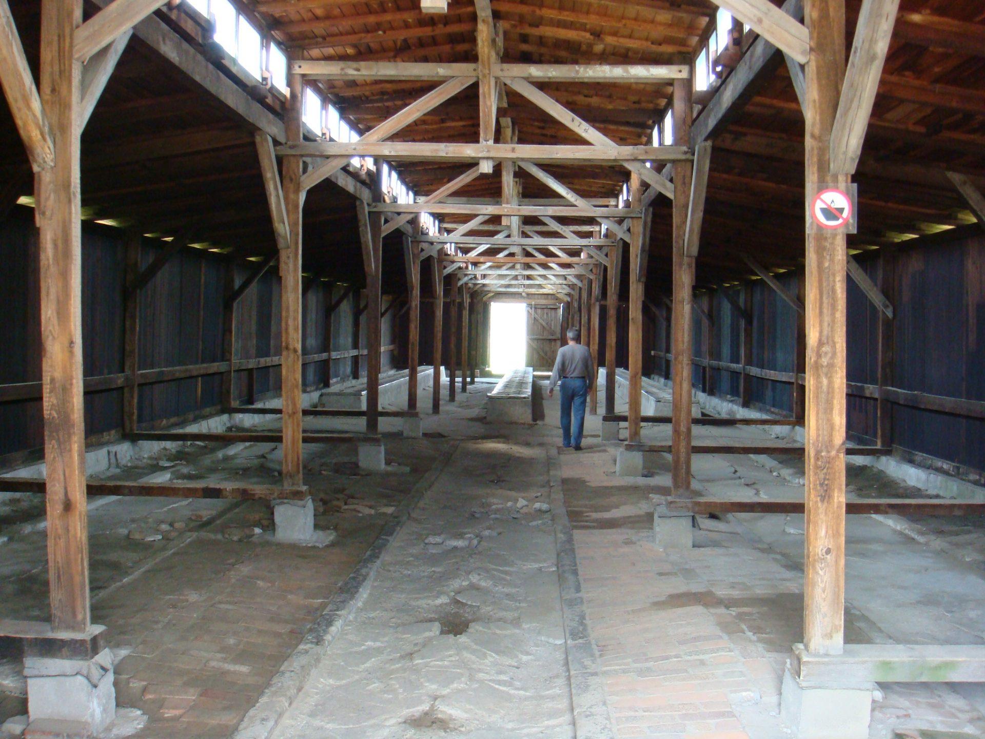 The interior of a Birkenau block