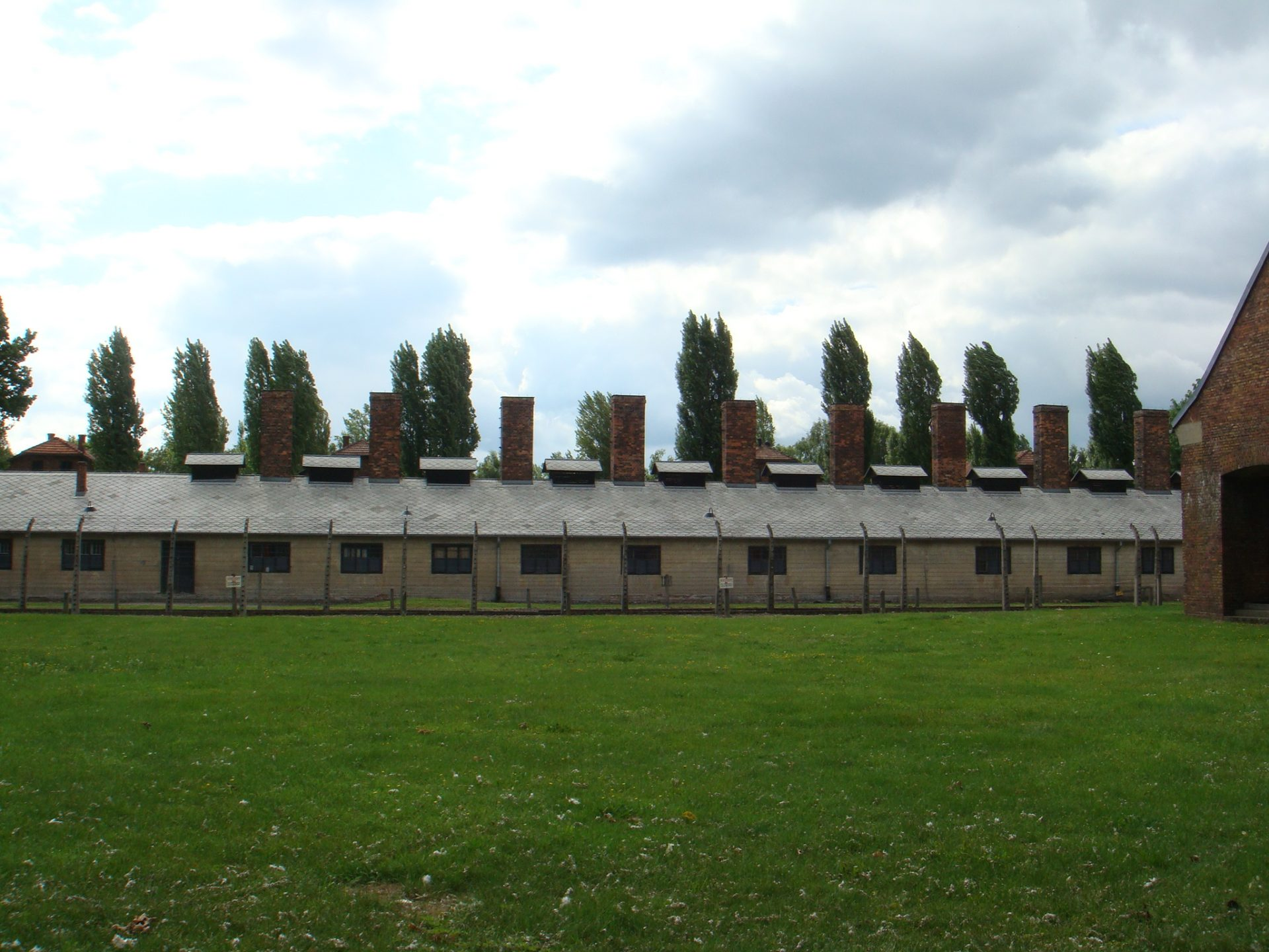 The first sight of Auschwitz, as you approach from the town of Oswiecim