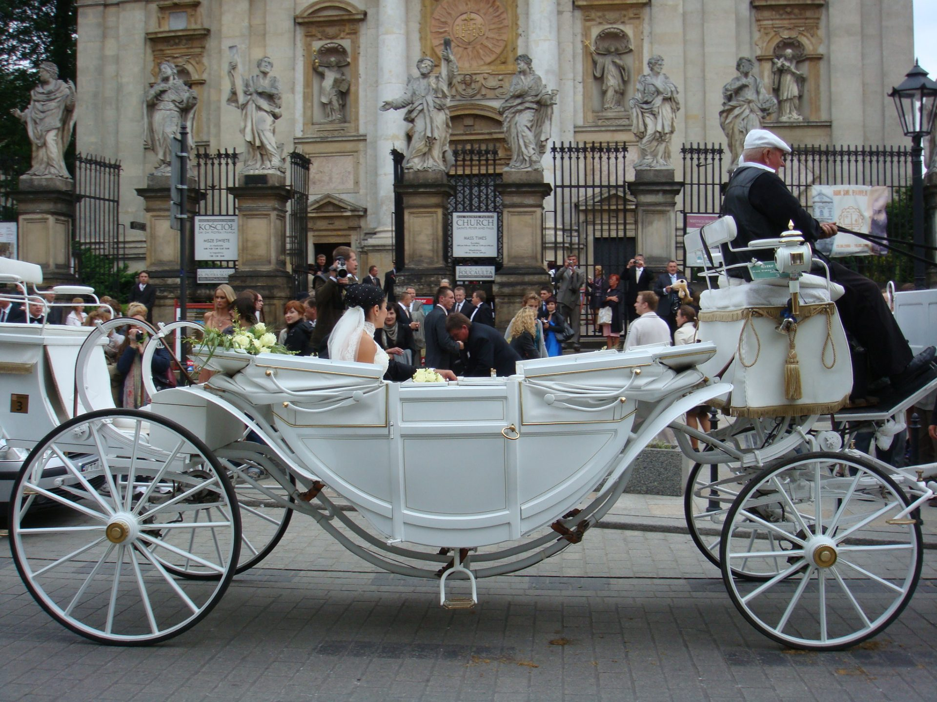 The beautiful wedding couple in the beautiful buggy