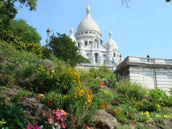 Sacre Coeur Basilica commands a spot on the highest hill in Paris