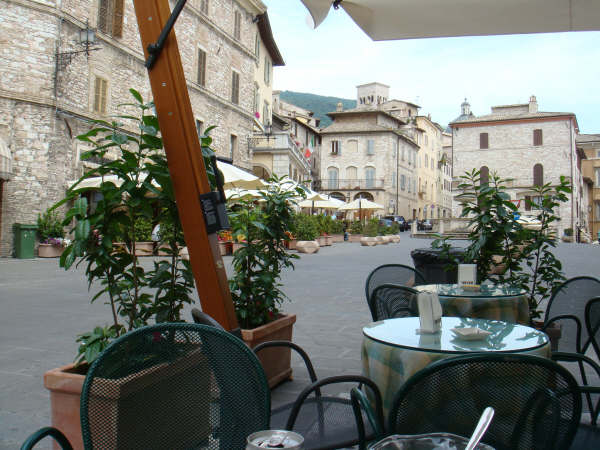 The central square in the town of Assisi