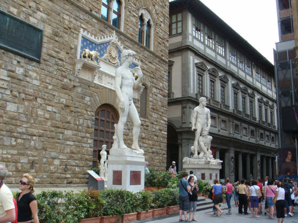 Michelangelo's 'David' guarding the palace gates (replica)