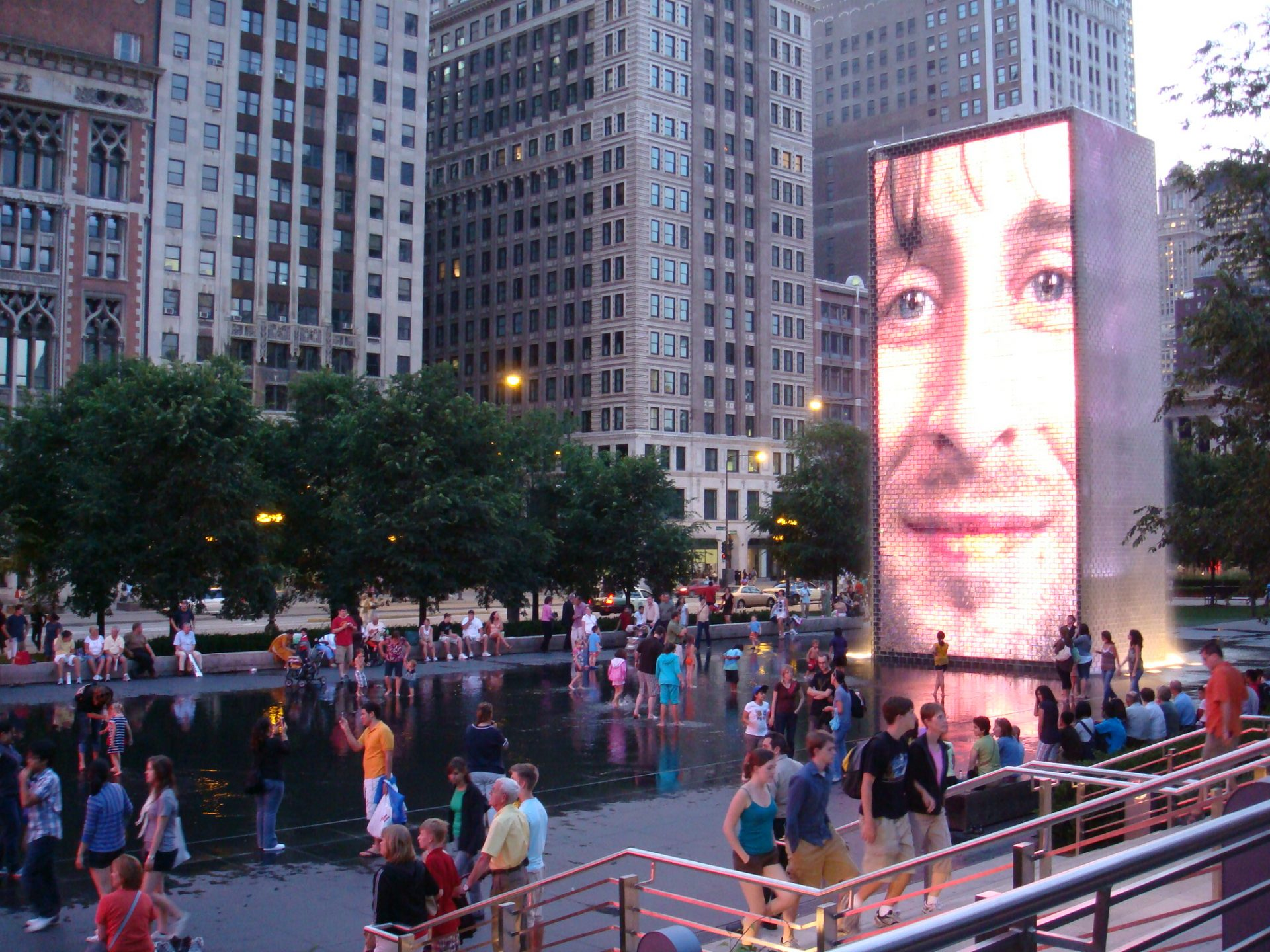Crown Fountain - splashing fun for kids in Millennium Park