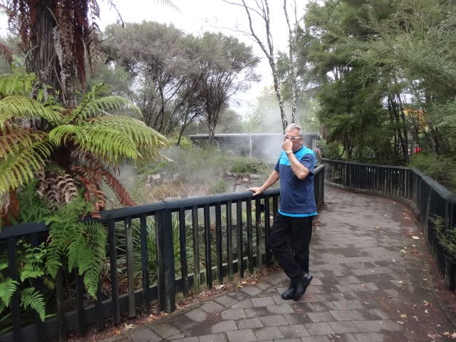 Rog enjoying the geothermals in Rotorua