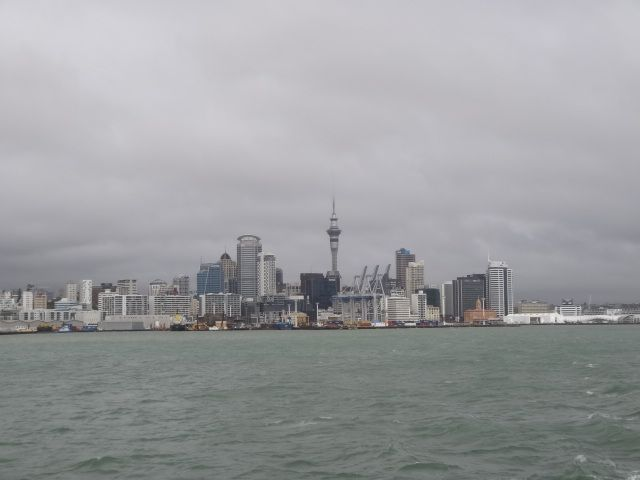 Downtown Auckland seen from ferry.  Note:  sun successfully photoshopped out of image.