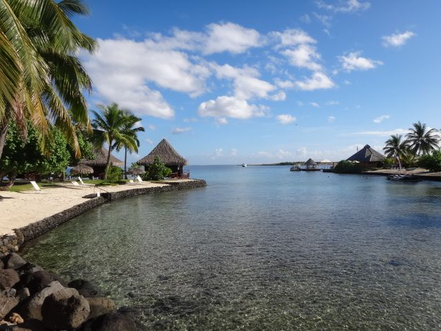 Moorea Island in the distance; the view from our hotel in Tahiti