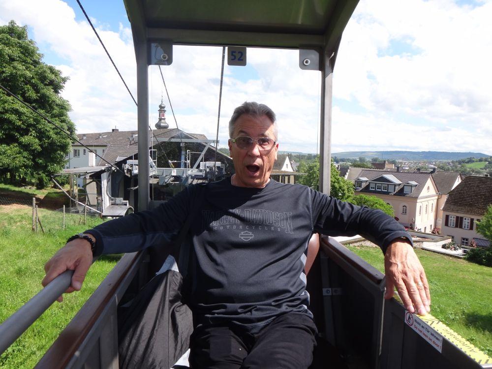 Rog enjoying gondola ride in Rudesheim