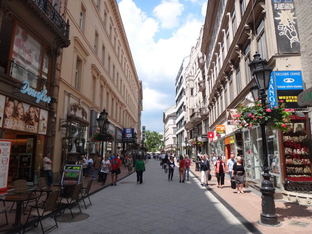Street scene in downtown Budapest.  All the running and screaming appears to have died down.