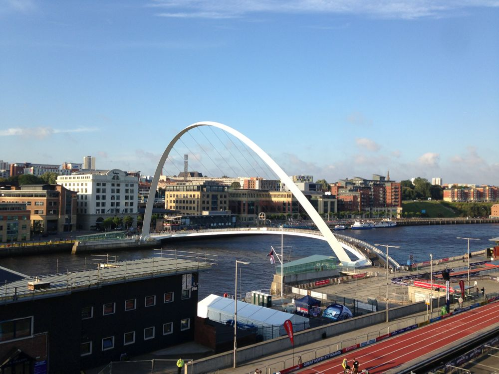 The Gateshead Millennium Bridge in Newcastle