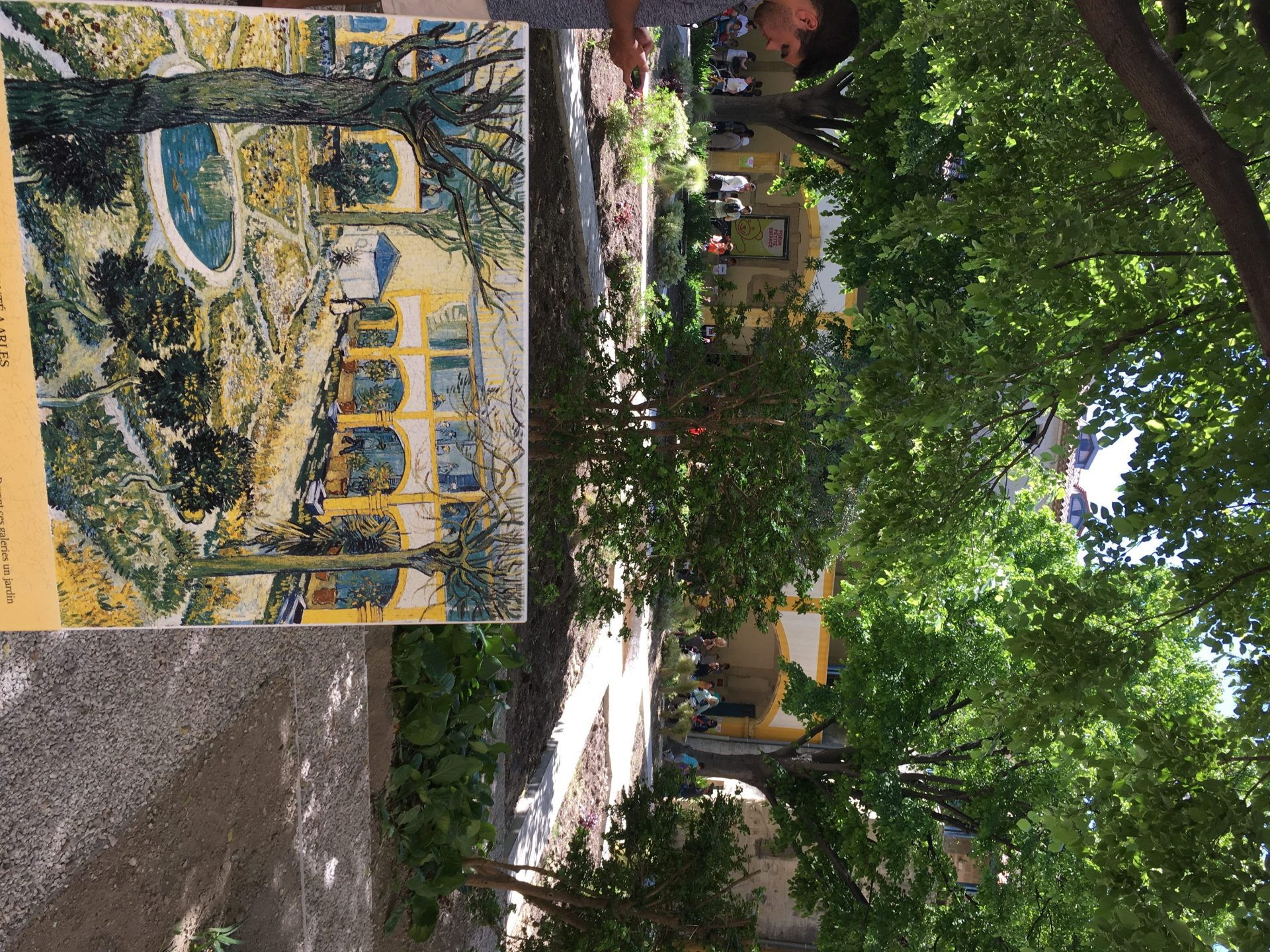 Vincent's painting of the hospital against the courtyard of the hospital today